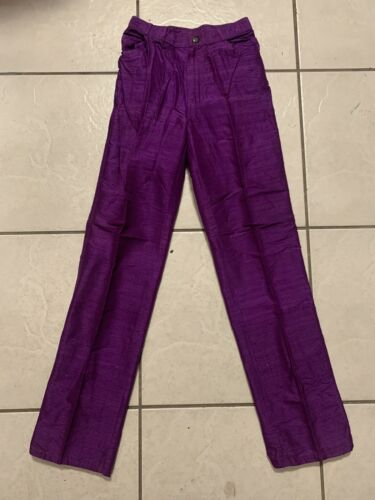 Vintage 80s Clovis Ruffin Silk Pants  Purple Size