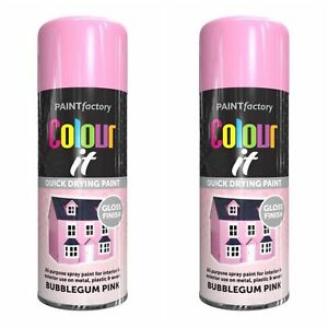 Details about 2 x Multi-Purpose Bubble Gum Pink Gloss Colour It Spray Paint  Can Spray 400ml