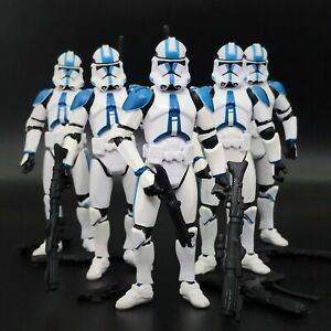 "Lot of 5 Star Wars 501st Legion Blue White Clone Trooper 3.75/"" Loose Figure"