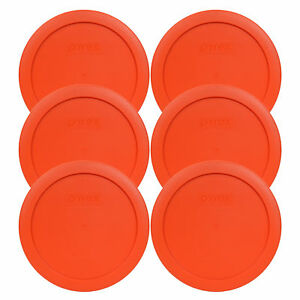 Pyrex-7201-PC-4-Cup-Round-Pumpkin-Orange-Lid-Cover-6PK-for-Glass-Bowl-New