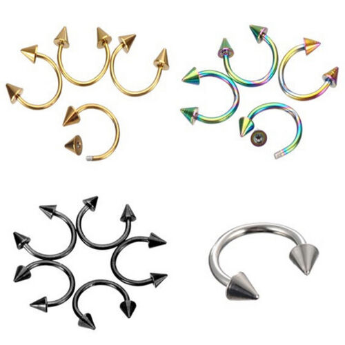 Horseshoe Bar Lip Nose Septum Ear Ring Body Piercing Jewelry Stainless Stee LL