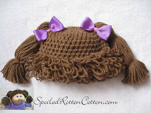 f4dde115868 Cabbage Patch Kid Crochet Hat Wig Light Brown Pigtails Infant ...