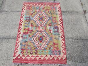 Kilim-Old-Traditional-Hand-Made-Afghan-Oriental-Red-Green-Wool-Kilim-123x82cm