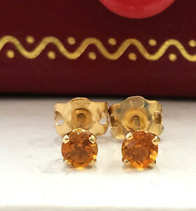.55CTW Natural Madeira Citrine in 14K Solid Yellow Gold Stud Earrings