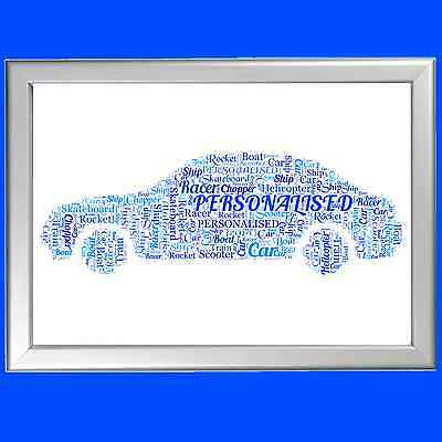 CAR WORD ART Personalised! Him Mens Boyfriend Brother Gift Present Father Uncle