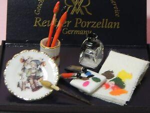 Dollhouse Miniature Paint Set Artist Studio Reutter Porcelain Mini 1:12 Scale