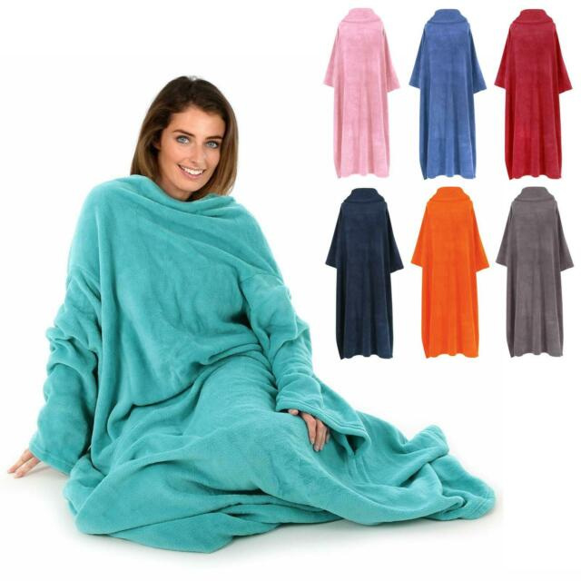 Adults Warm Soft Coral Fleece TV Cuddle Snuggle Blanket With Sleeves 7 Colours