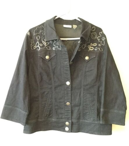 3 Platinum Chico's Jacket Size Beaded Jean Women's Denim Mørkeblå w4qqtzR