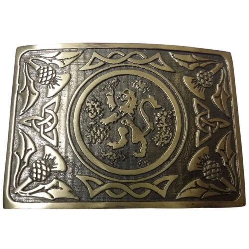 CC Scottish Kilt Belt Black Leather Embossed Various Design//Antique Belt Buckles