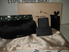 $1450 NEW PRADA Raso Green Stones Black Satin Frame Clutch Evening Bag Handbag