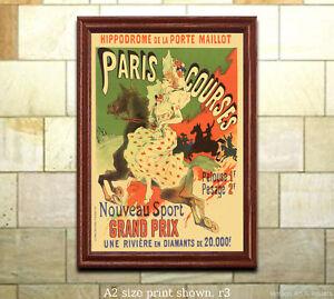 Details About Jules Cheret Hippodrome Paris Courses Vintage French Art Nouveau Poster