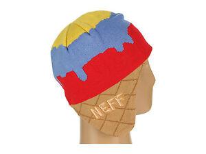 dfc84ec5973 NWT Neff Ice Cream Cone Beanie Hat Stocking Cap Primary Colored ...
