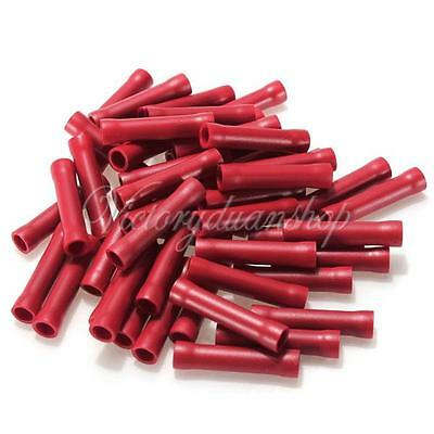 50pcs Red Car Audio Wire Butt Bullet Connector 16-22 Gauge Crimping Terminal Set
