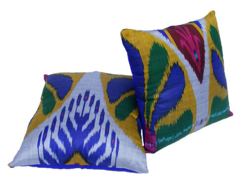 Exklusive orient Vintage Seiden Ikat Kissen Dekokissen silk Pillow Uzbekistan BL
