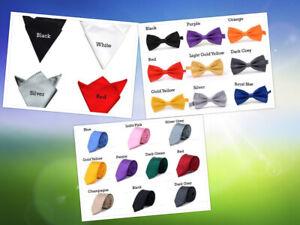 Mens-Wedding-Party-Prom-Plain-SATIN-Cravatta-PAPILLON-SQUARE-Fazzoletto-Hanky
