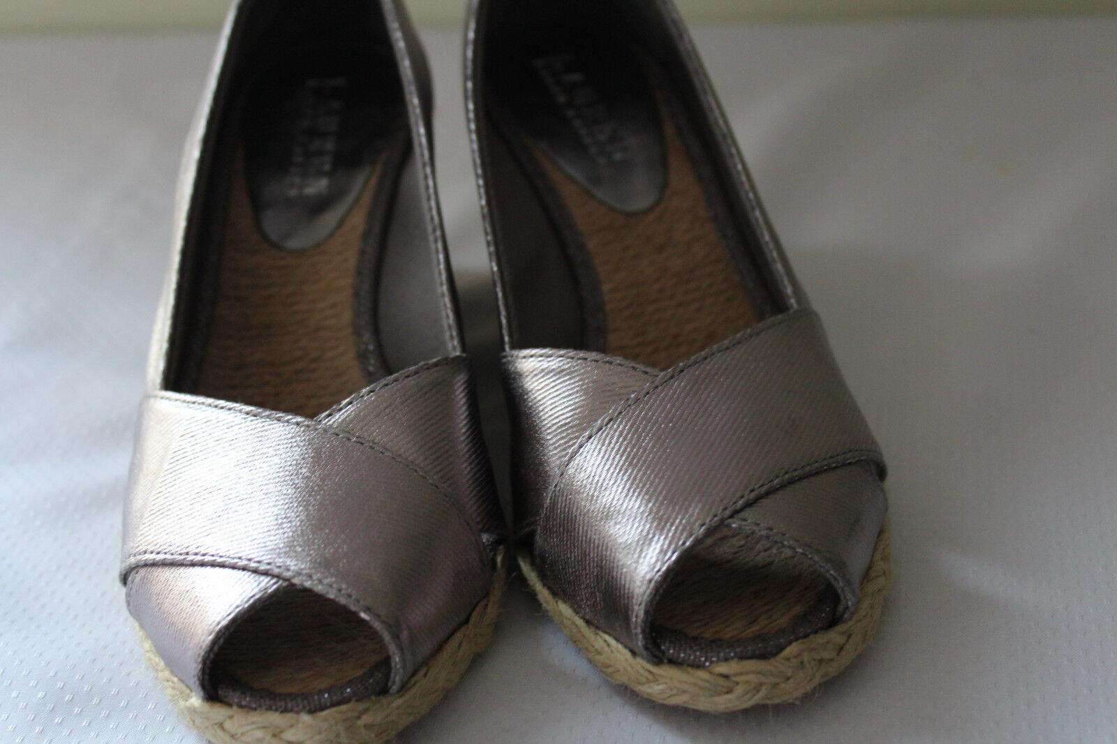 NEW Ralph Lauren Cecilia Silver Silver Silver pink Metallic PeepToe Espadrille Sandals 5B  108 bf185d