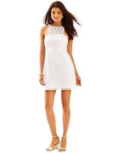 8167cf265e6ad4 Lilly Pulitzer Rae Shift Dress Crochet Knit Stripe Resort White Sz ...