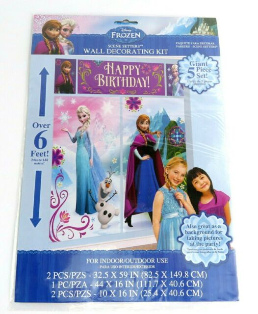 2 Banners FROZEN SCENE SETTER Happy Birthday Backdrop Party Wall Decoration Kit
