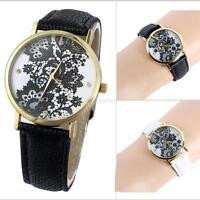 Armbanduhr Damenuhr schwarz Strass Analog Damen Mädchen PU-Leder Uhr Neu