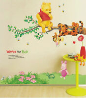 Winnie The Pooh Hanging Around Removable Decal Nursery Kids Wall Stickers, Ca22