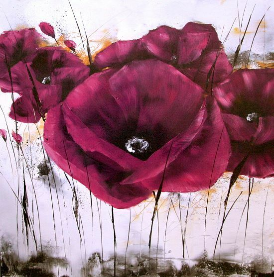 Zacher-Finet   Pavot Violet (III) Coquelicot Tableau Prêt 70x70 Tableau Mural