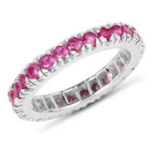 1Ct-Round-Cut-Pink-Created-Ruby-Eternity-Engagement-Ring-White-Gold-Finsh-Silver