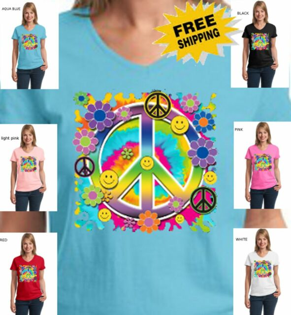 Hippie Peace Sign Smiley Face Psychedelic Flowers New Womens V Neck T-Shirt Top