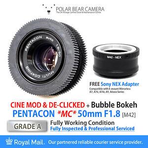 ⭐SERVICED⭐ PENTACON 50mm F1.8 CINE MOD DE-CLICK+Sony E-Mount NEX Adapt [GRADE A]
