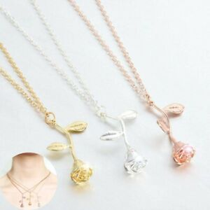 Necklace-Rose-Flower-Silver-Jewelry-Gold-Gift-Fashion-Pendant-Women-Charm