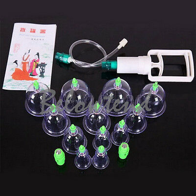 Chinese Medical 12 Cups Body Cupping Set Home Care Self Treatment Diagnose