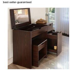 Modern vanity table mirror stool set makeup ladies for Modern vanity table with mirror and bench
