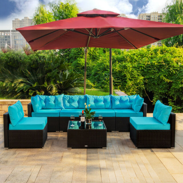 Admirable 7 Pc Outdoor Patio Garden Furniture Sectional Sofa Set Rattan With Table Blue Squirreltailoven Fun Painted Chair Ideas Images Squirreltailovenorg