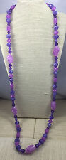 Vintage Style Necklace Purples Beveled Drums Textured Swirl beads Long Flapper