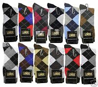 New 12 Pairs 1 Dozen LORDS Mens Argyle Dress Socks Cotton Multi Color Size 10-13