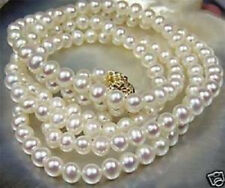 """7-8mm White Akoya Cultured Pearl Necklace 25"""" LL003"""