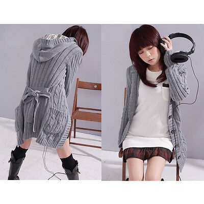 Womens Hooded Winter Cardigan Sweater Knitted Coat Knitwear with hat