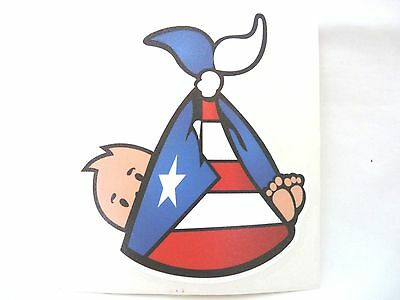 PUERTO RICO FLAG WITH BABY STICKERS SOUVENIRS