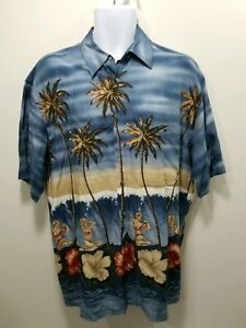 PIERRE-CARDIN-Mens-Hawaiian-Camp-Shirt-Medium-Rayon-Bikini-Girls-Palm-Trees-M