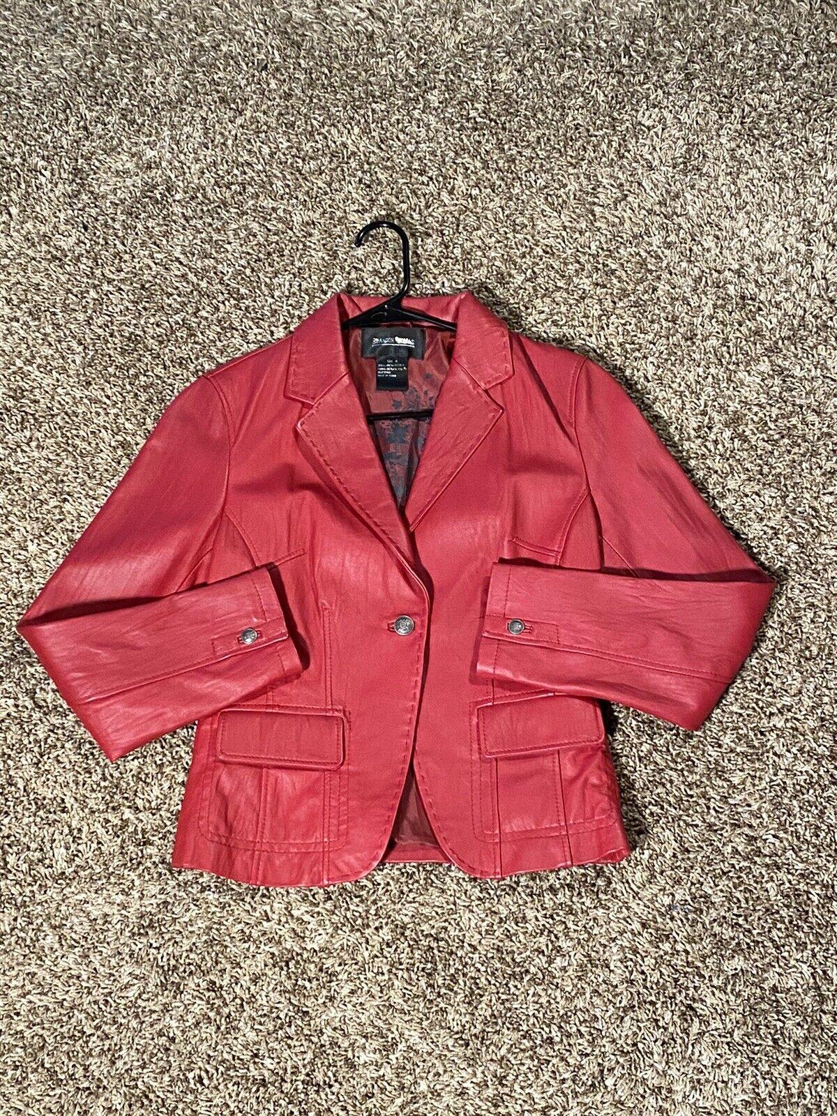 Women's Brandon Thomas Red 100% Leather Jacket - Medium