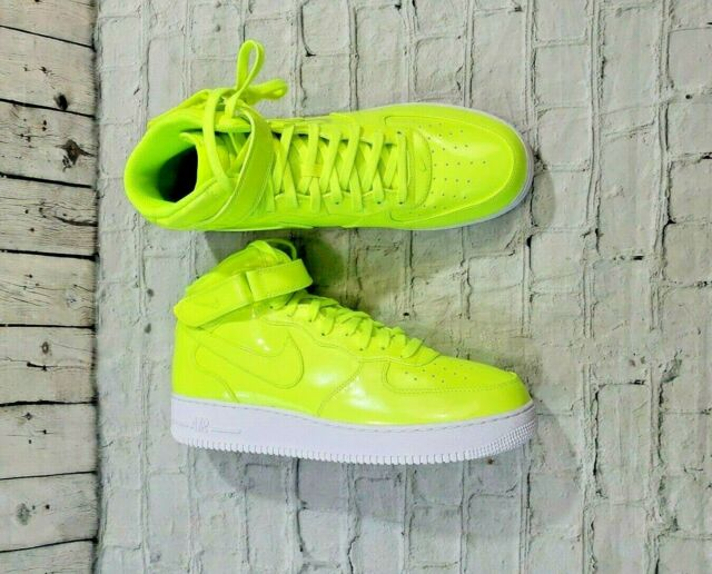 quality design e58bf f0ea5 Nike Air Force 1 Mid 07 LV8 UV AO0702-700 Volt Patent Leather Shoes MENS