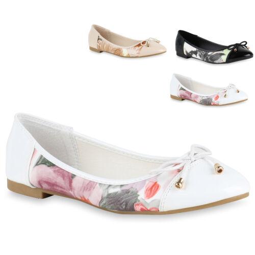 Damen Ballerinas Lack Prints Flats Slipper Schuhe Leder-Optik 814900 Trendy Neu