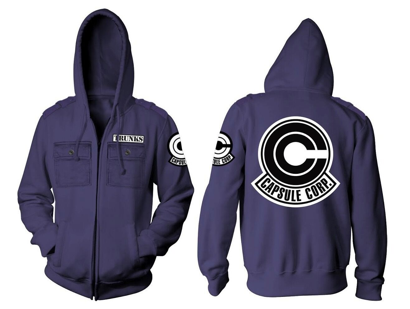 Dragon Ball Z Capsule Corp Trunks Military Style Adult Zip Hoodie