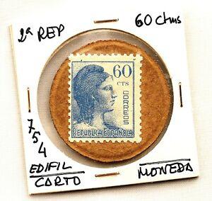 Spain-Guerra-civil-Sello-moneda-Republica-Espanola-60-Centimos-EBC-XF
