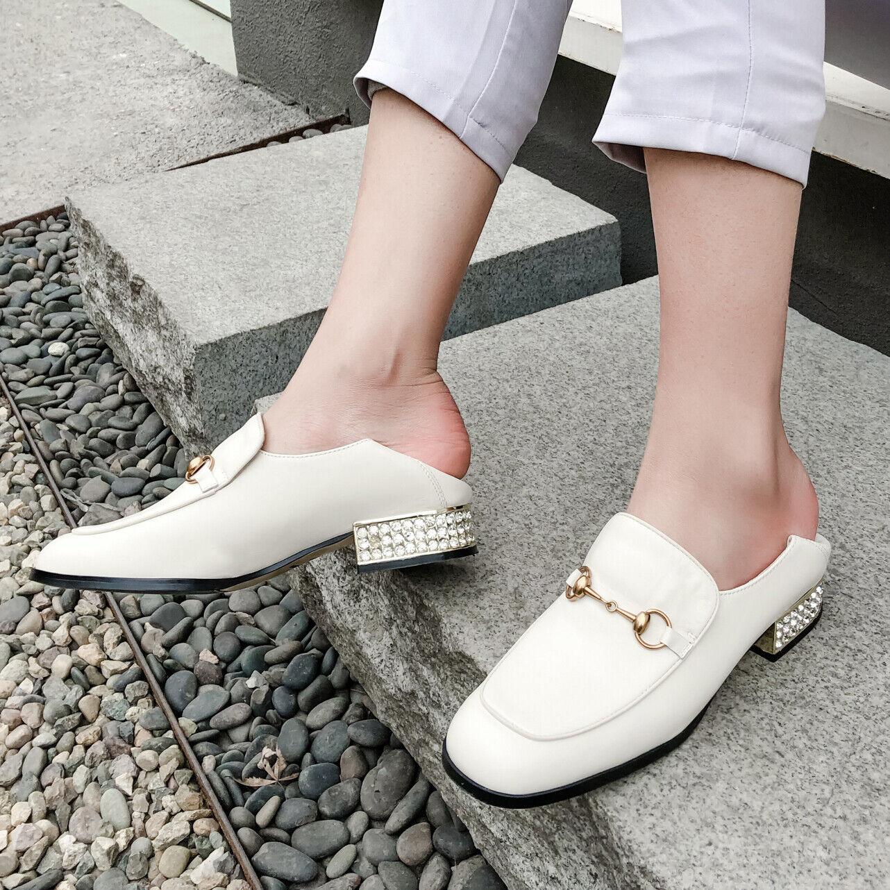 Block Low Heel Womens Slip On Horsebit shoes Loafers Pumps Leather Retro Fashion