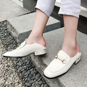 Block-Low-Heel-Womens-Slip-On-Horsebit-Shoes-Loafers-Pumps-Leather-Retro-Fashion