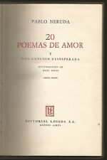Pablo Neruda Book 20 Poemas De Amor 1966 Losada