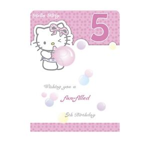 Age 5 Birthday Card Hello Kitty Open Daughter Niece Granddaughter