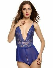 Avidlove Women Sexy Lingerie Lace See-through Babydoll Open Crotch Dress size S