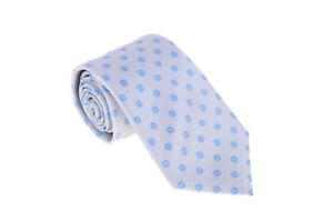 Kiton-Napoli-Mens-Silver-With-Blue-Floral-Motif-Seven-Fold-Handmade-Silk-Necktie