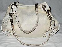 Kathy Van Zeeland Cream Floral Fabric & White Faux Leather Studded Shoulder Bag